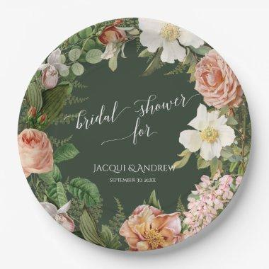 Bridal Shower Forest Blush Ivory Peony Rose Wreath Paper Plate
