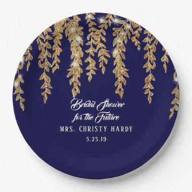 Bridal Shower Future Mrs. Navy Gold Willow Leaf Paper Plate