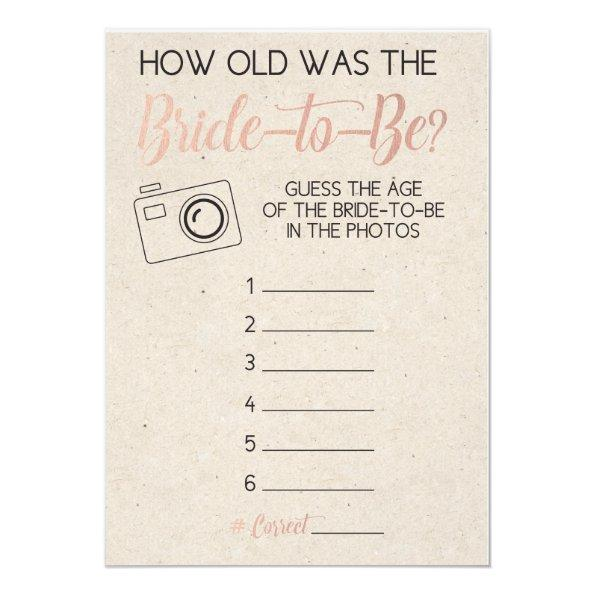 216 bridal shower game guess brides age from photo invitations