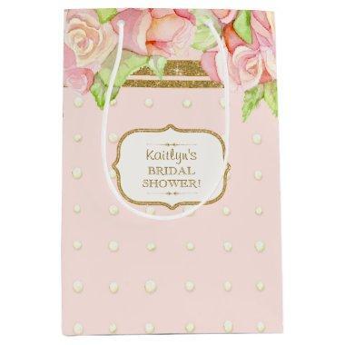 Gift Bag Watercolor Rose Bouquet