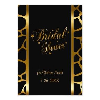 Bridal Shower Giraffe Pattern With Gold Lettering Invitations
