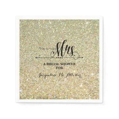 Bridal Shower Gold Glitter Future Mrs. Modern Fab Paper Napkin
