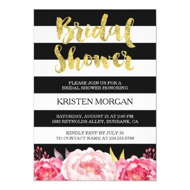 Bridal Shower Gold Glitter Pink Floral Stripes Invitations