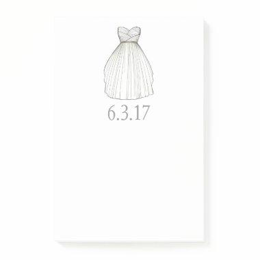 Gown Bride Wedding White Dress Post-it Notes