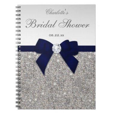 Guestbook Faux Sequins Navy Bow Notebook