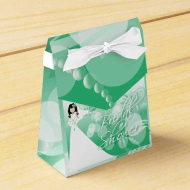in a Pretty Green And White Favor Box