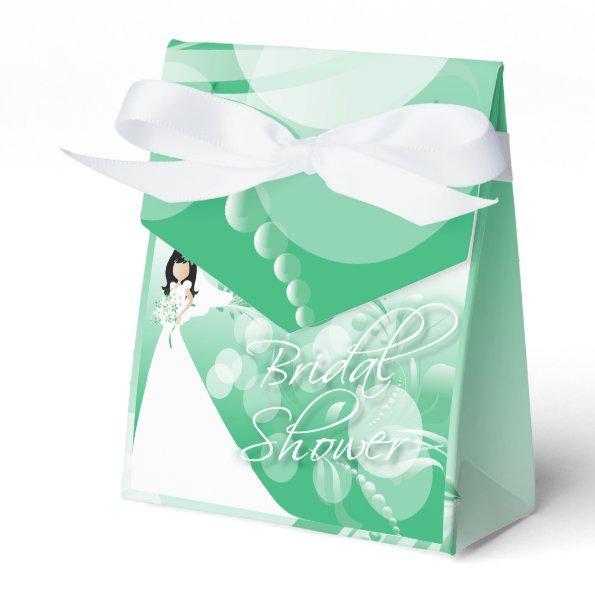 in a Pretty Green And White Favor Box