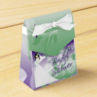 in a Pretty Green, Purple and White Favor Box