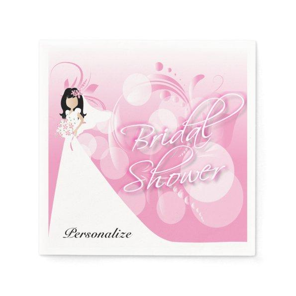 Bridal Shower in a Pretty Pink And White Paper Napkin