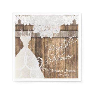 Bridal Shower in a Rustic Barn Wood Design Paper Napkin