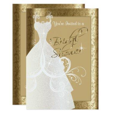 Bridal Shower in Antique Gold Damask Invitations