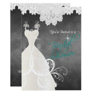 Bridal Shower in Chalkboard and Lace Invitations