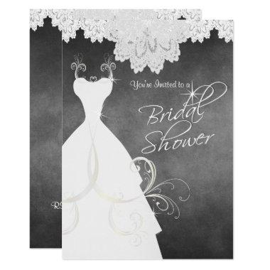 Bridal Shower in Chalkboard & White Lace Invitations