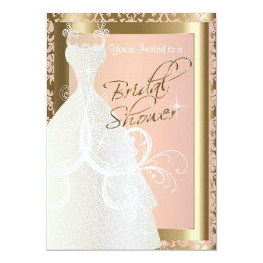 Bridal Shower in Metallic Gold and Pink Rose Invitations