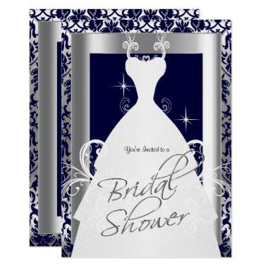 Bridal Shower in Navy Blue 2 Damask and Silver Invitations