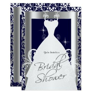 in Navy Blue 2 Damask and Silver