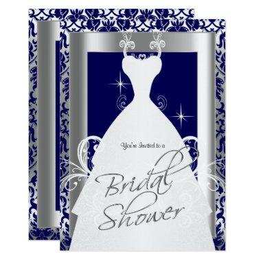 in Navy Blue Damask and Silver