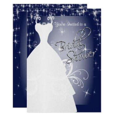 Bridal Shower in Navy Blue Starry Night Invitations