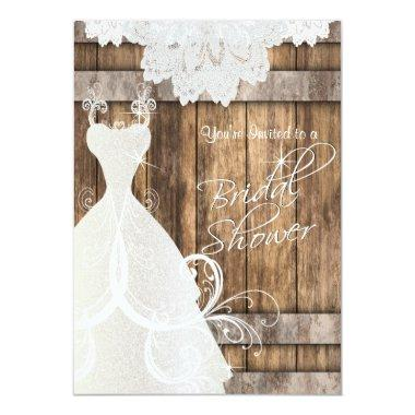 Bridal Shower in Rustic Wood and Lace Invitations