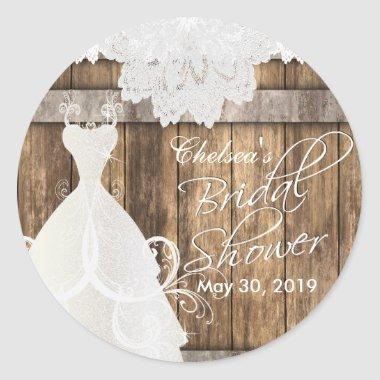 in Rustic Wood and Lace Classic Round Sticker