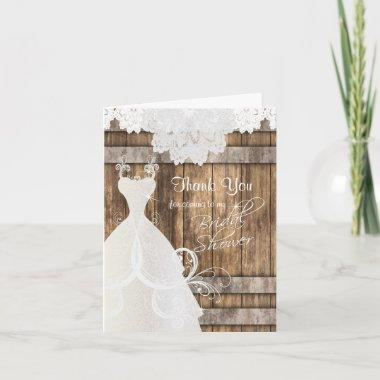 Bridal Shower in Rustic Wood and Lace Thank You Invitations