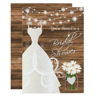 Bridal Shower in Rustic Wood Stringlights Invitations
