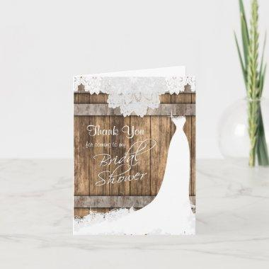 Bridal Shower in Rustic Wood & Vintage Lace Thank You Invitations