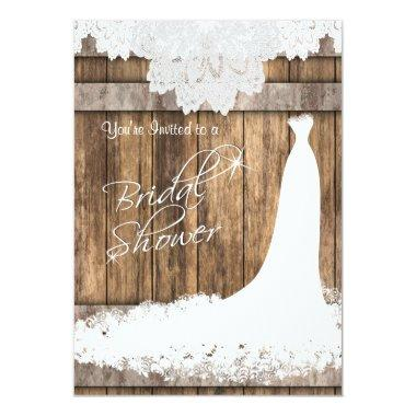 Bridal Shower in Rustic Wood & White Lace Invitations