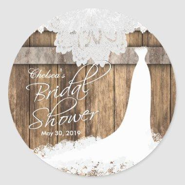 in Rustic Wood & White Lace Classic Round Sticker