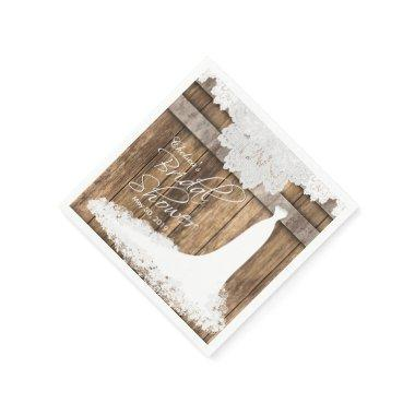 in Rustic Wood & White Lace Paper Napkin