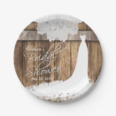 in Rustic Wood & White Lace Paper Plate