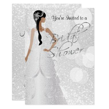 Bridal Shower in White Glitter Invitations