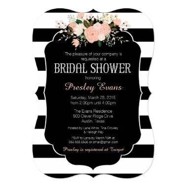 Bridal Shower Invitation, floral black & white Invitations