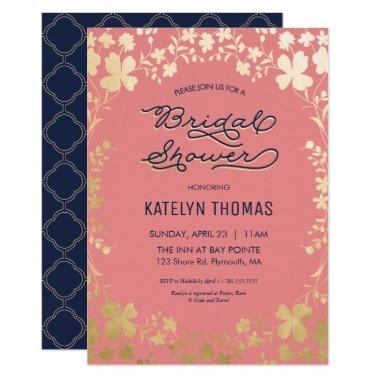 Coral bridal shower invitations unique bridal shower navy coral gold floral filmwisefo