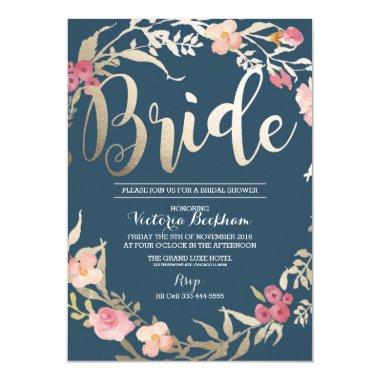 invitation, Navy floral foil bride