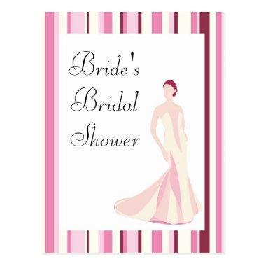 Bridal Shower Invitation-Pink Striped PostInvitations