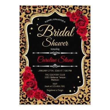 Bridal Shower Invitations Red Roses Leopard Print