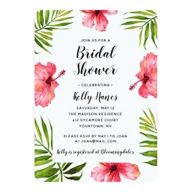 Bridal Shower Invitations Tropical Summer Watercolo