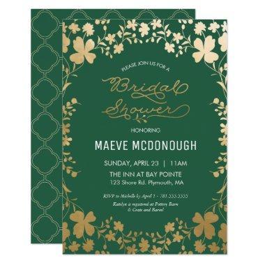 Invitation, Vintage Green & Gold