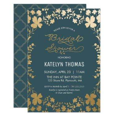 Invitation, Vintage Teal & Gold