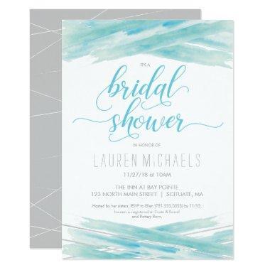 Invitation, Watercolor, Blue, Silver