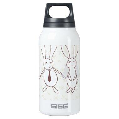 with two cute rabbits in insulated water bottle
