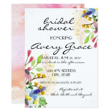 Bridal Shower Invite - Watercolor Wildflowers