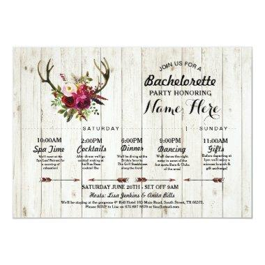 Itinerary Bachelorette Antler Rustic