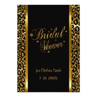 Bridal Shower - Leopard Print With Gold Lettering Invitations