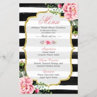 Bridal Shower Luncheon Menu Classy Floral Stripes