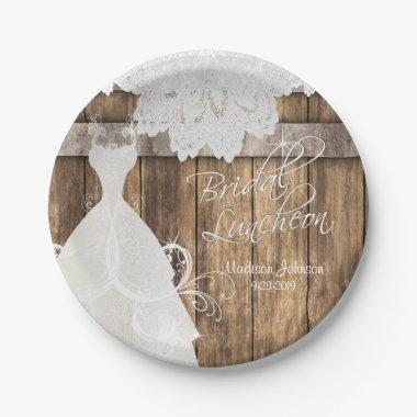 Luncheon - Rustic Wood and Lace Paper Plate