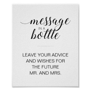 Bridal Shower Message In A Bottle Advice Sign