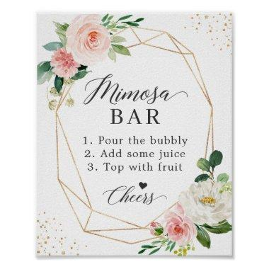 Bridal Shower Mimosa Bar Sign Blush Pink Floral