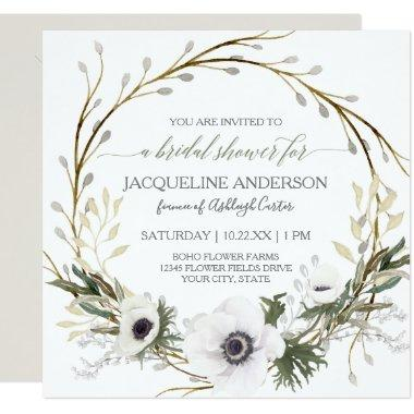 Bridal Shower Modern Anemone Twig Fern Eucalyptus Invitations